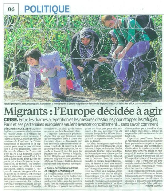 8月31日付、パリジャン紙。
