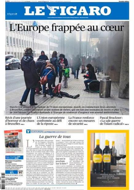 3月23日付の、ル・フィガロ紙。