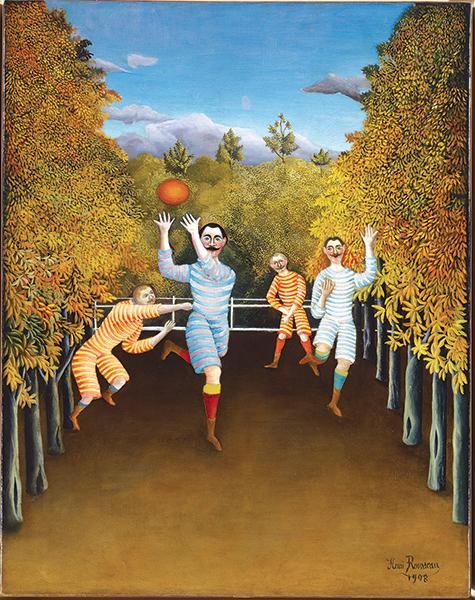 Heuri Rousseau, dit Le Douanier Rousseau Les joueurs de football,1908 New York, Solomon R.Guggenheim Museum,ⒸThe Solomon R.Guggenheim Museum Foundation/Art Resource, NY, Dist.RMN-Grand Palais/The Solomon R.Guggenheim Museum Foundation/Art Resource, NY,