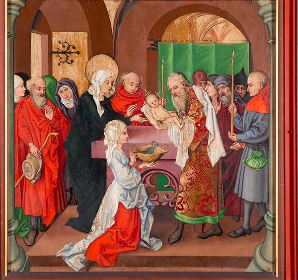 マルティン・ショーンガウアーとその周囲の画家たち、ドミニコ派修道院祭壇画『神殿奉献』1480年頃   © Musée Unterlinden, Colmar