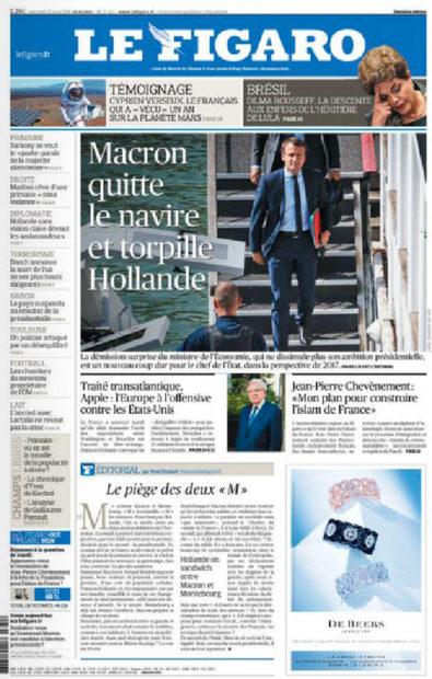 8月31日付 Le Figaro。
