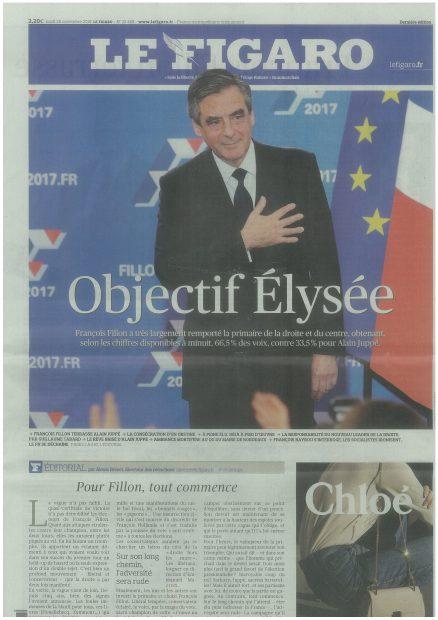 *11月28日付Le Figaro紙 「目指すはエリゼ宮」