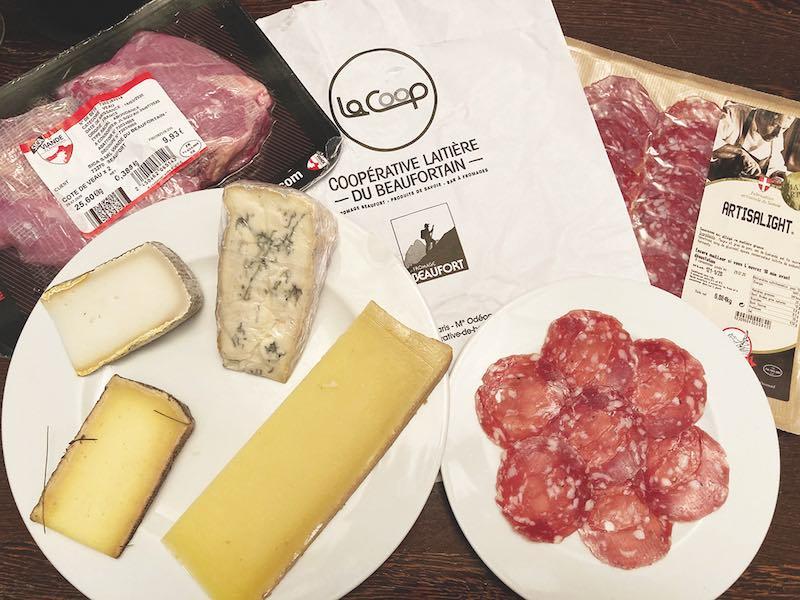 ボーフォール、ブルーチーズ、サラミ、仔牛肉