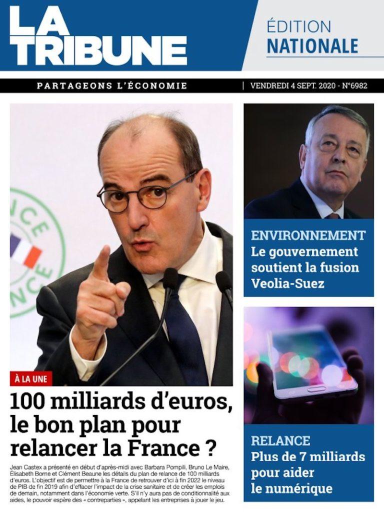 9月4日付 ラ・トリビューン紙 「1000億ユーロ、いい復興プラン?」。