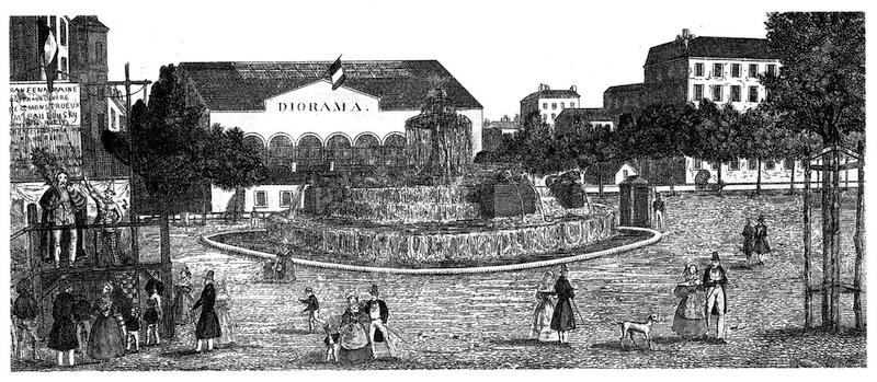 シャトー・ドーの噴水とダゲールのジオラマ劇場。
