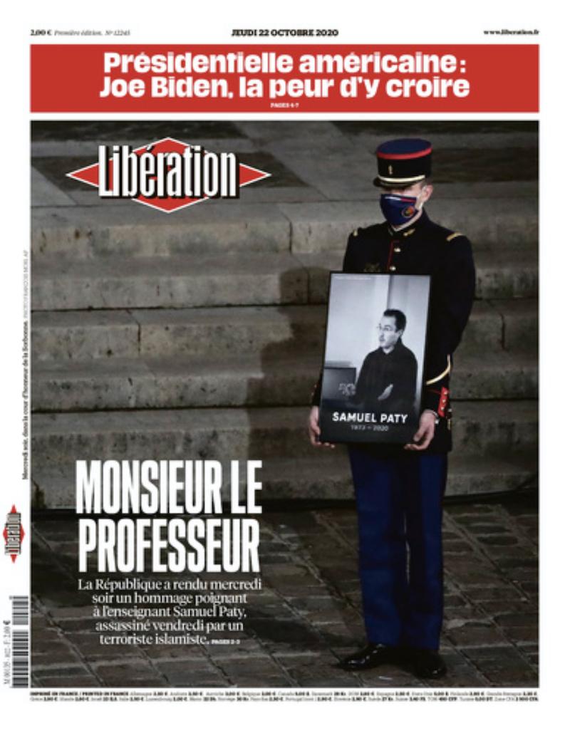 10月20日付 リベラシオン紙。国の追悼式を一面に。