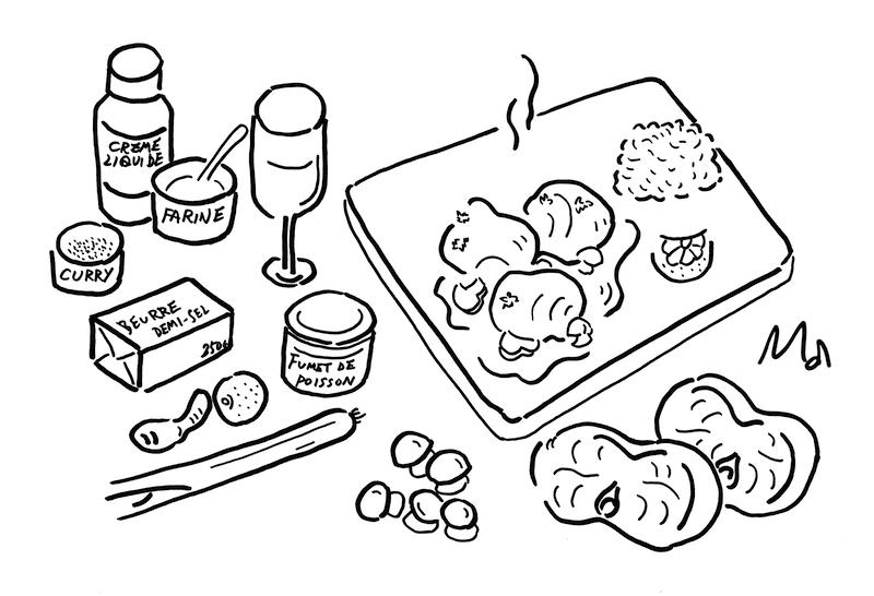 Curry de lotte à la crème